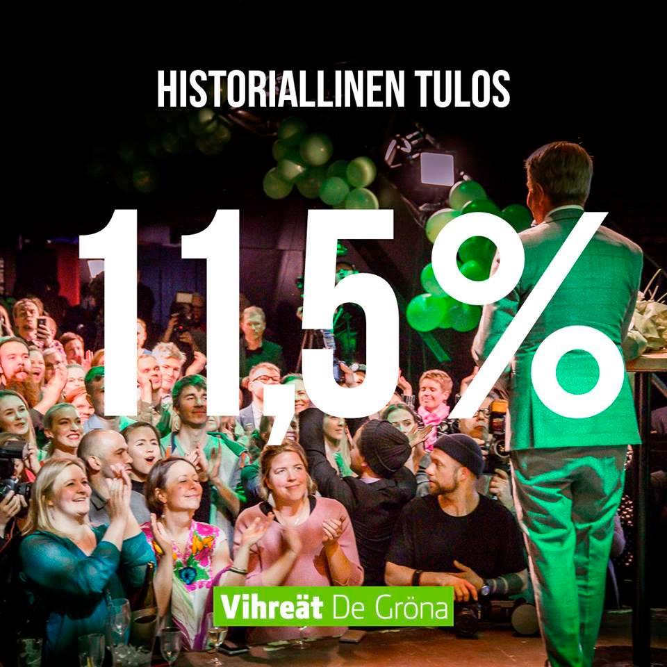 Vaalivalvojaiset Tavastialla 14.4.2019, historiallinen vihreä vaalivoitto, pj Pekka Haavisto puhuu